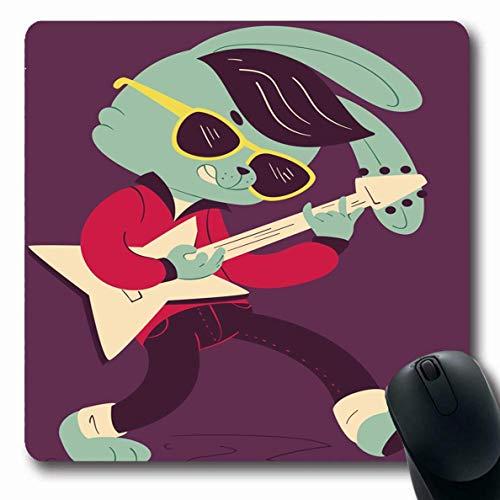 Luancrop Mousepad Oblong Jeans Rock Rockabilly Bunny Sonnenbrille Easter Song Holidays Musikinstrument Cool Rabbit Design Büro Computer Laptop Notebook Mauspad, rutschfestes Gummi