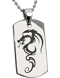 Acier Inoxydable Dragon Ombre Gravée Plaque d identification Pendentif d8b805593076