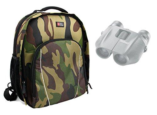 DURAGADGET Sac à dos de transport pour BUSHNELL Powerview 7-15x25, H2O 10x25mm, H20 8x42 jumelles Waterproof - couleur camouflage kaki + protège pluie BONUS