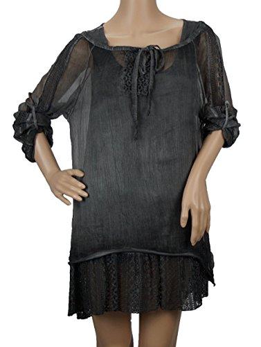 Tunique avec ourlet dentelle au crochet, 2pièces, One Size (Taille 36à 42) Gris - Gris