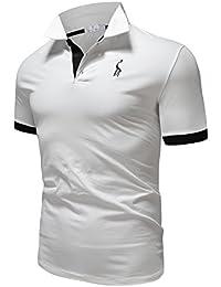 Glestore Polo para Hombre de Manga Corta Collar Camisa Golf MT1030 de Tenis  Camiseta Azul Negro 6f113bfd6068c