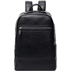 Peggie House,Negro Material PU cuero exquisito cremalleras de hombres de moda mochila gran capacidad impermeable mochilas
