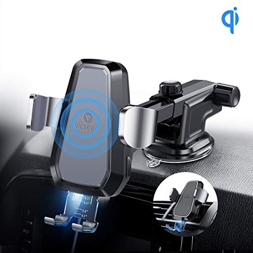 Wireless Charger Auto, vicseed 2 in 1 Qi Handyhalter Auto Automatisch Motor Betrieb 10W Fast Charging Dashboard & Air Vent  für  iPhone Xs Max Xs Xr 8 8 Plus, Samsung Galaxy Note 9 S9 S9 Plus S8