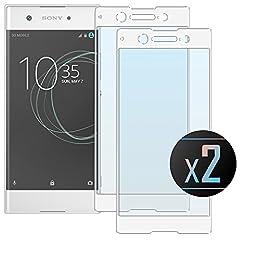 Electro-weideworld 2 Pack Sony Xperia XA1 Ultra Protector de Pantalla, 3D Pro-Fit Pantalla Completa Cristal Templado Pantalla Protectora para Sony Xperia XA1 Ultra,Bordes curvados - Blanco