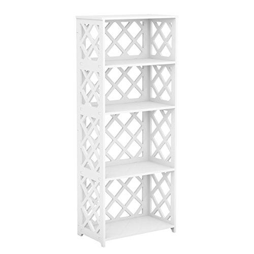 Rackaphile Bücherregal Weiß mit 8 Fächern Standregal Mehrzweckregal aus Holz, freistehendes Regal, Raumteiler für Büro, Wohnzimmer, Schlafzimmer, 4 Etage, Weiß (4 Regal-wohnzimmer-bücherregal)