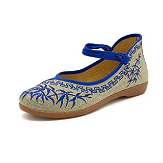 CAI&HONG-Domestics GCH Women's shoes, shallow mouth, embroidered casual shoes, shoes, B, 40