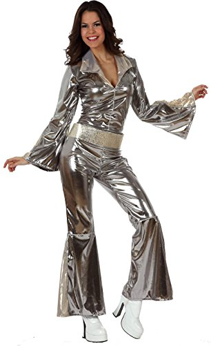 Kostüm Sexy Disco Jumpsuit - KULTFAKTOR GmbH Sexy Disco-Jumpsuit Damenkostüm Plus Size 70er Silber M / L