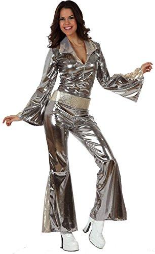 Disco-Jumpsuit Damenkostüm Plus Size 70er Silber XL ()