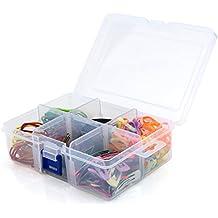 Hangerworld Caja Organizadora de Plástico Transparente con Seis Compartimentos Ajustables ...