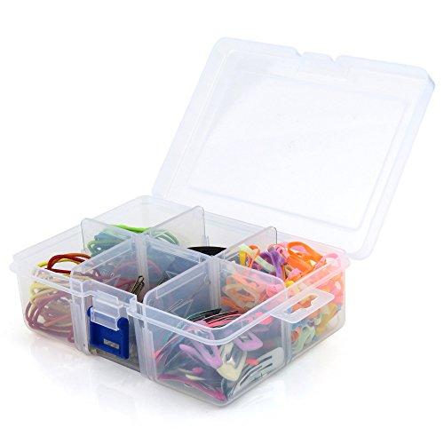 Hangerworld scatola in plastica pvc trasparente con coperchio e divisori con 6 scomparti