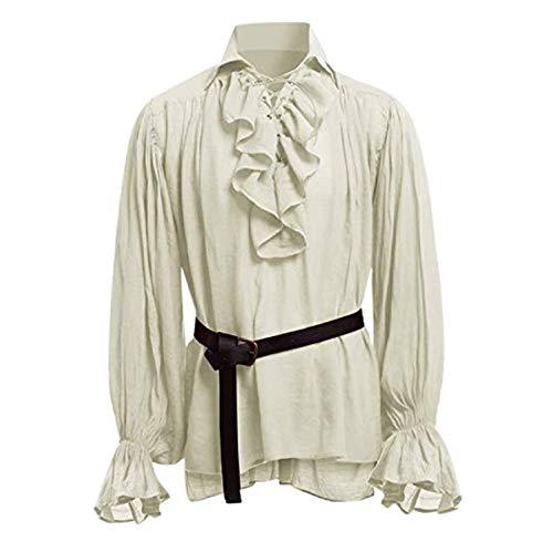 STRIR Camisa con Cordones renacentista Medieval Túnica...
