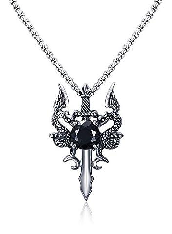 Vnox acier inoxydable double dragon épée hommes