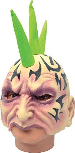 Erwachsene Karneval Halloween Horror Party halbes Gesicht Tätowierung Mohawk Bizarre Gummimaske (Mohawk Halloween Kostüme)