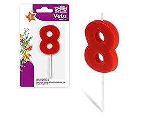 Party- Vela de cumpleaños numero 8, 5 x 3.5 cm, Color rojo (68032)