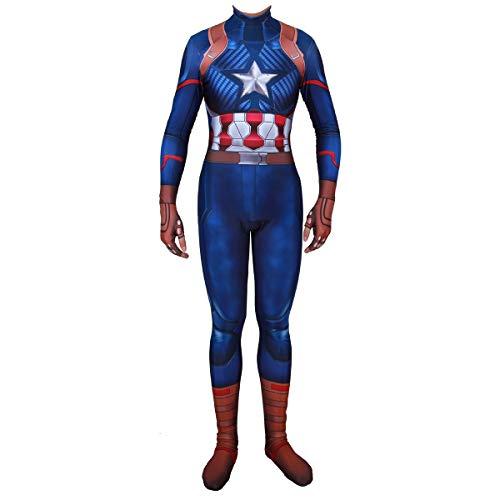 QQWE Captain America Cosplay Kostüm Marvel Hero Kinder Erwachsene Kostüm Weihnachten Halloween Bühnenkleidung Bodysuit Spandex Overalls,A-XXL (Captain America Bodysuit Frauen)