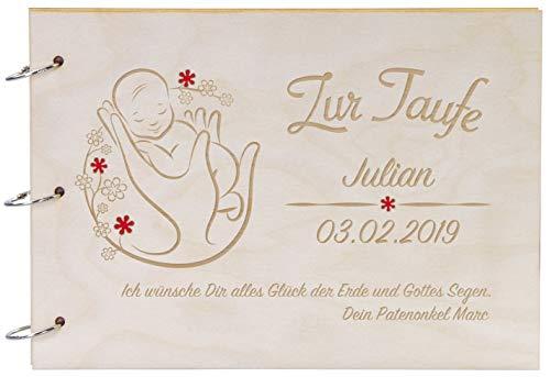 LAUBLUST Foto-Album aus Holz mit Gravur - Blumen-Baby - Personalisiertes Geschenk zur Taufe - 31x22cm, Natur, A4-Format