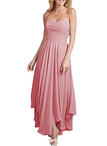 Azbro Women's Fashion Strapless Asymmetric Hem Dress red