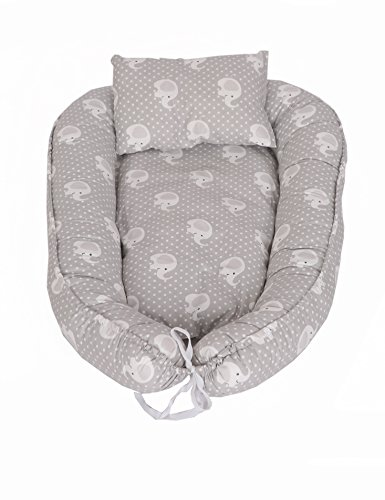 myhoppi Baby Nest, cojín de lactancia, cuna de viaje, cambiador, manta multifuncional Nido para bebés y lactantes, Baby de nido Cuna 100% algodón (80x 45cm) gris Elefant-Grau