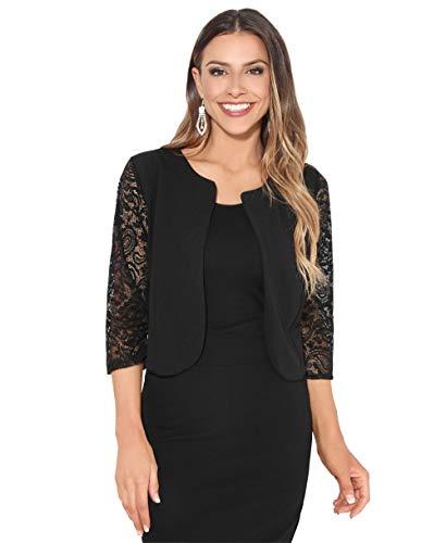 Krisp coprispalle bolero donna leggero elegante cirimonia manica corto giacca matrimonio nuziale taglie forti, nero (9330), small, 9330-blk-sm