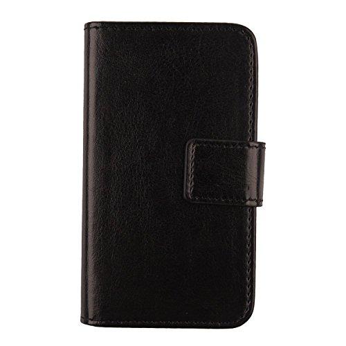 Gukas PU Leder Tasche Hülle Für Archos Sense 47X 4.7 Handy Flip Design Brieftasche mit Karten Slots Schutz Protektiv Case Cover Etui Skin (Farbe: Schwarz)