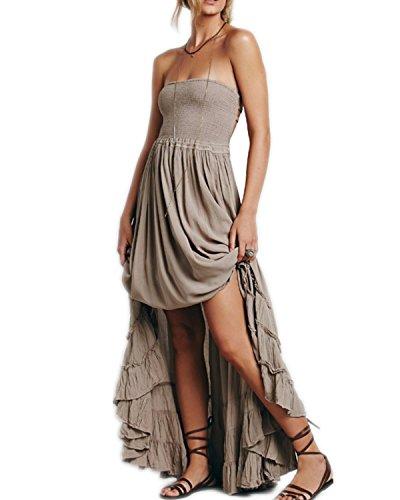 YOGLY Damen Strandkleid Neckholder Vintage A-Linie Boho Dünn Langekleid Maxikleid Elegant Sommer Dress Bodenlang Kleider AbendKleider Cocktail Party Grau