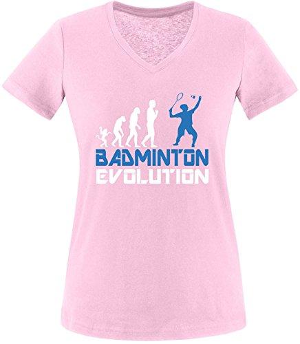 EZYshirt® Badminton Evolution Damen V-Neck T-Shirt Rosa/Weiss/Blau