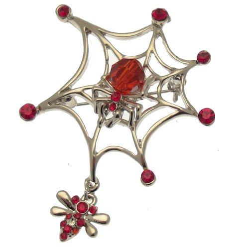 Acosta - Swarovski Kristall Rot & Perlen - Spinnennetz Brosche Gothic - SILBER - Geschenkverpackung