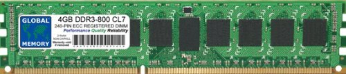 GLOBAL MEMORY 4GB DDR3 800MHz PC3-6400 240-PIN ECC Registered DIMM (RDIMM) ARBEITSSPEICHER RAM FÜR Servers/WORKSTATIONS/MAINBOARDS (2 RANK Non-CHIPKILL) -