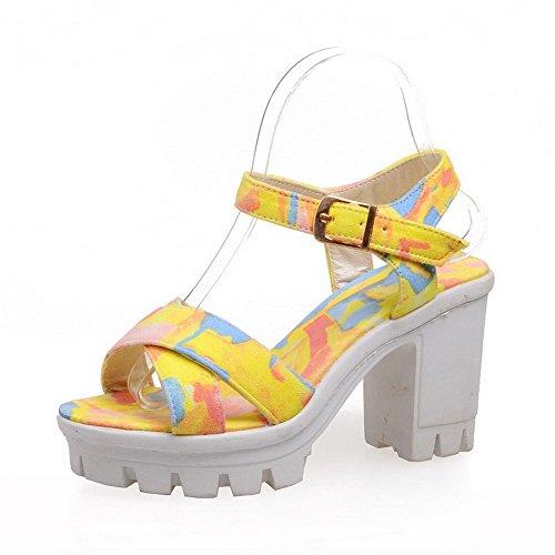 VogueZone009 Donna Fibbia Tacco Alto Luccichio Colore Assortito Sandali Giallo
