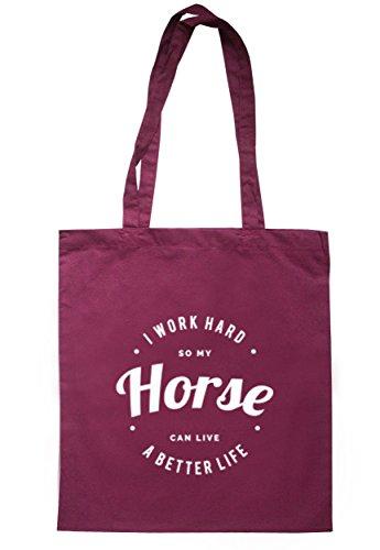 breadandbutterthreads i lavori rigida So My Horse può vivere una vita migliore Borsa 37,5cm x 42cm con manici lunghi Maroon
