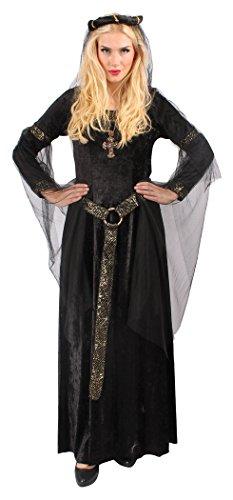 Böses Burgfräulein Kostüm Set mit Kopfschmuck in Schwarz | Größe: 40 / 42 | Mittelalter Kostüm für Karneval & Fasching | Damen-Kostüm & Halloween-Verkleidung mit goldfarbenen Details für (Böse Tanz Kostüme Königin)