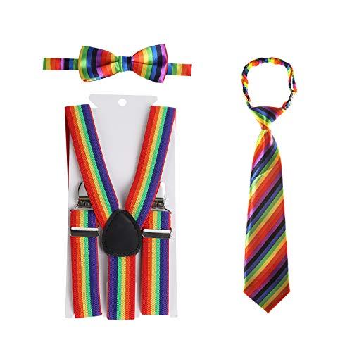 Kinder Hosenträger Fliege Krawatte Set - Verstellbare Elastische Mode Kleidung Accessoire für Jungen und Mädchen ... (Regenbogenstreifen, 80 cm(6 Jahre alt - 5 Fuß hoch))