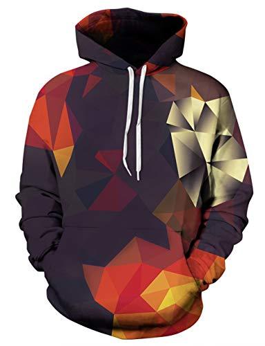 Rave on Friday 3D Pullover Herren Geometry Pullover Drawstring Casual Jumper Bekleidung für Familie mit Tasche M