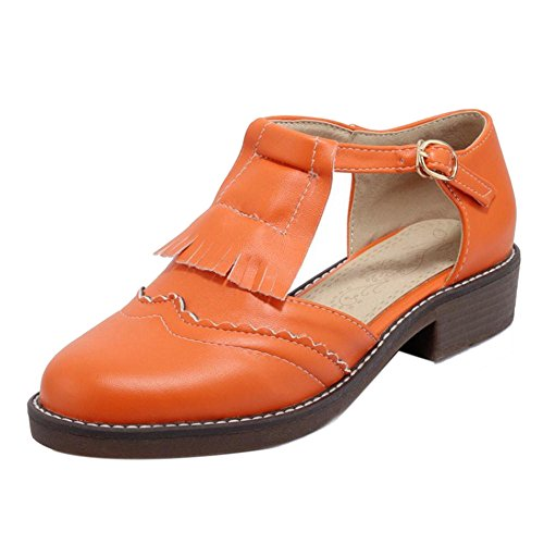 TAOFFEN Damen Mode Blockabsatz Pumps Mit Schnalle Gem¨¹tlich Sandalen 450 Orange