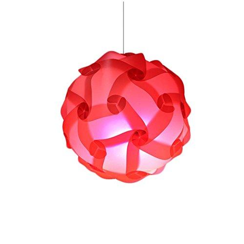 24 Zeitgenössische Leinwand (Kronleuchter Puzzle Lampe Schatten / Jigsaw IQ Light Decke Schatten der zeitgenössischen Pendelleuchte Schirm Beleuchtung Durchmesser 40cm Dekoration für Wohnzimmer etc. Zimmer (Red Rose) red)