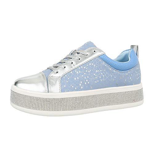 Ital-Design Damenschuhe Freizeitschuhe Sneakers Low Synthetik Blau Silber Gr. 38 - Hoodie Blau Frauen