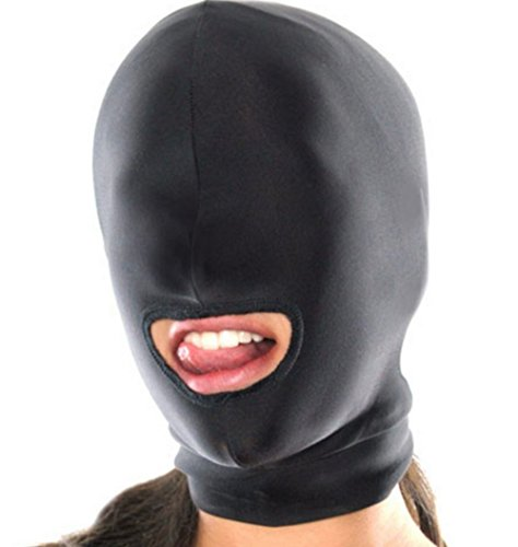 Fetish Bondage Mask Hood Maschere per Adulti Costumi e Travestimenti (Taglia Unica, 1 Fori / Open Mouth)