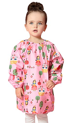 DAWNTUNG Kids Universal Artist Painting Apron Waterproof Rain Coat Pattern Long Sleeve Smock Bibs Age 2-6 Unisex