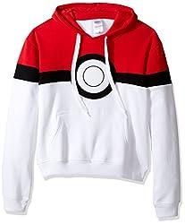 Pokemon Mens Pokeball Hoodie Sweatshirt, Red/White, Medium