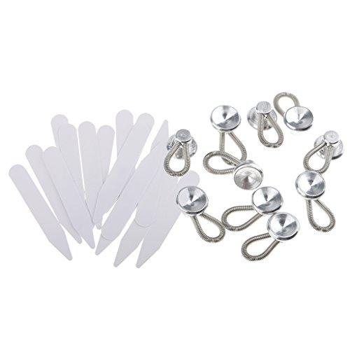 MagiDeal 10 Stück Metall Hosenerweiterung Hosenknopfverlängerung Bunderweiterung Erweiterung + 200er Kragenstäbchen kragen Bleibt Knochenversteifungen