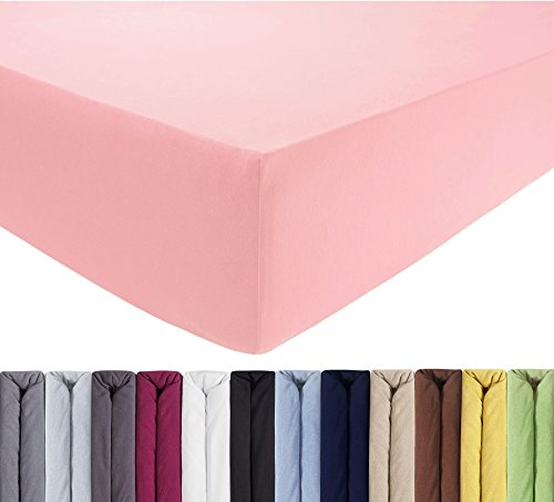 ENTSPANNO Jersey-Luxus-Spannbettlaken 140 x 200 | 160 x 220 cm für Wasser- und Boxspringbett in Rosa aus gekämmter Baumwolle. Spannbetttuch mit Einlaufschutz, bis 40 cm hohe Matratzen