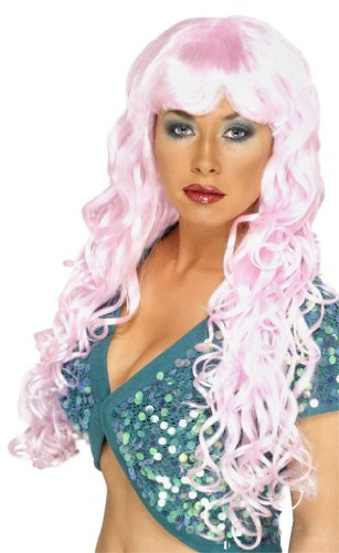 Long Curly Pink Siren Woman's Costume Wig One Size (Lady Dragon Für Erwachsene Perücke)