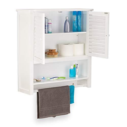 Relaxdays Hängeschrank weiß LAMELL, Badschrank mit Handtuchhalter, Wandschrank aus Bambus, HBT: 66 x 62 x 20 cm -
