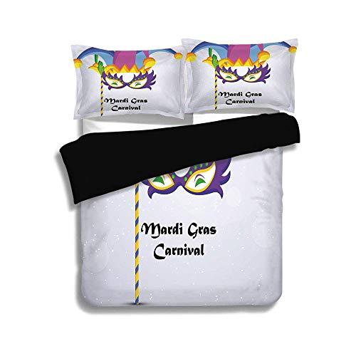 Schwarzer Bettbezug Set, Mardi Gras, Mardi Gras Karneval Inschrift mit traditionellen Party Icons Clown Kostüm Hut dekorativ, mehrfarbig, dekorativ 3-teiliges Bettwäscheset von 2 Pillow Shams, QUEEN / (Mardi-gras-kostüme Traditionellen Den)