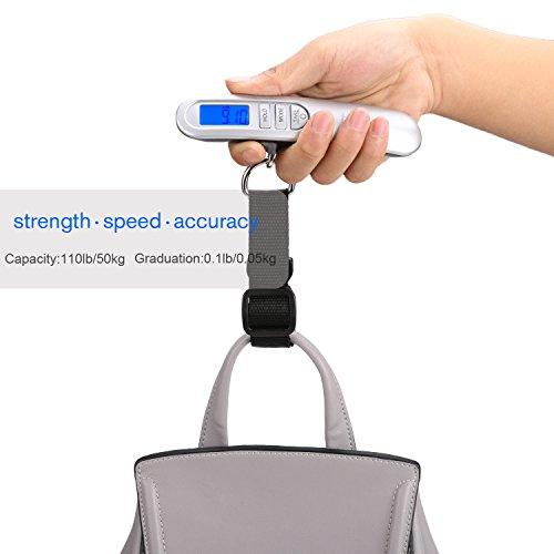 Homdox Digital Gepäck Skala mit Wiegen Rack, Tara und Auto Halten Funktion, LCD-Display Hängende Skala, 50kg / 110lbs Kapazität, Silber Schwarz - 2
