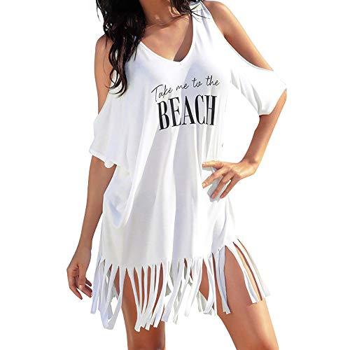 T-Shirt-Kleid mit Fransen Hucode Damen gedruckte Bikini-Bluse mit Buchstaben Sommer Freizeit off-Schulter Strand Minikleid