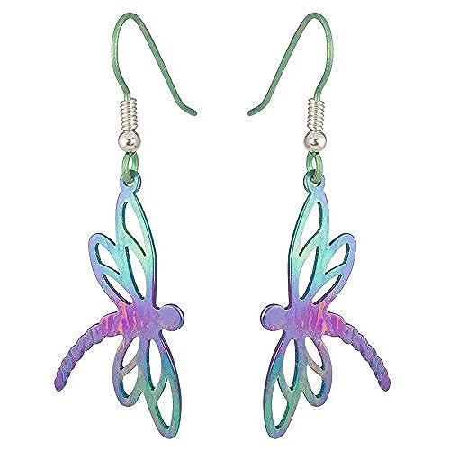 Ti2 Titanium Womens Dragonfly Stem Drop Earrings - Green/Purple/Pink o2zgID