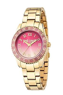 De la puesta del sol de las mujeres de Just Cavalli es un reloj de pulsera de cuarzo con esfera analógica y correa de acero inoxidable de oro R7253202507 de Just Cavalli