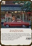 Laptopo 1965 Ford Falcon Futura Hardtop Car Vintage Look Replica Metal Sign Woman Shops