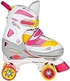 Nijdam Junior Mädchen Semi-Softboot Rollerskates Verstellbar, Fluorrosa/Fluorgelb/Weiß/Grau/Anthrazit, 30-33